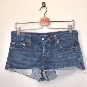 Levi's 501 jean shorts button fly  W27 EUC frayed